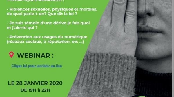 28 janvier 2021 - webinaire - thème prévention des violences et des dérives dans le sport